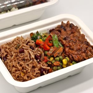 Rice and peas, Jerk vegetables and mixed beans in tomato sauce - Chefiesta, Meal Prep, Meal prep company, Meal prep near me, Catering company, private dining, Meal prep company UK