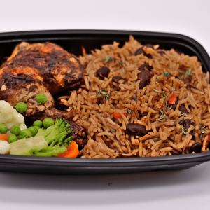 Rice and peas with Jerk Chicken - Chefiesta, Meal Prep, Meal prep company, Meal prep near me, Catering company, private dining, Meal prep company UK