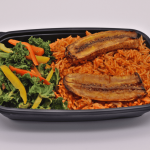 Jollof rice with stewed Kale and Grilled plantain - Chefiesta, Meal Prep, Meal prep company, Meal prep near me, Catering company, private dining, Meal prep company UK