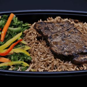 Jerk Pork, Rice and Peas and stewed kale